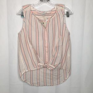 Lucky Brand button up Tie front blouse
